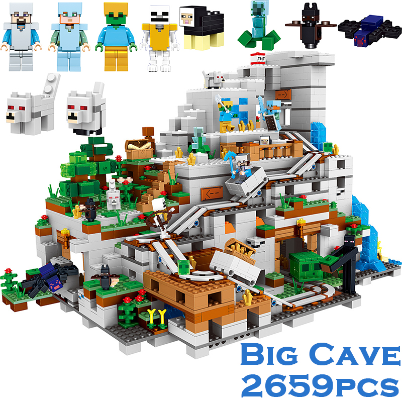 2659PCS My World Minecraft The Mountain Cave Anime Figures Building Block Bricks Toys For Children Similar With 21137 legoingly lepin 18029 minecraft 828pcs the underwater model action anime figures my world building block bricks fun toys for children gift