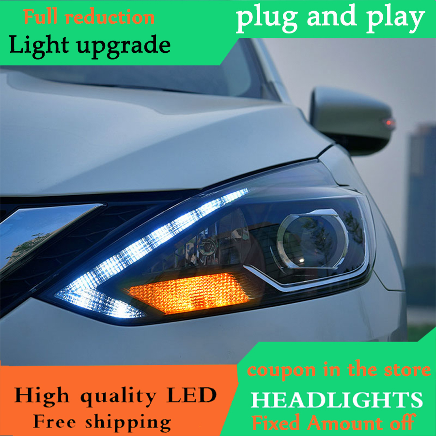 Car Styling for Nissan Sylphy Headlights 2016 Sylphy Head Lamp LED Headlight DRL Lens Headlamp H7