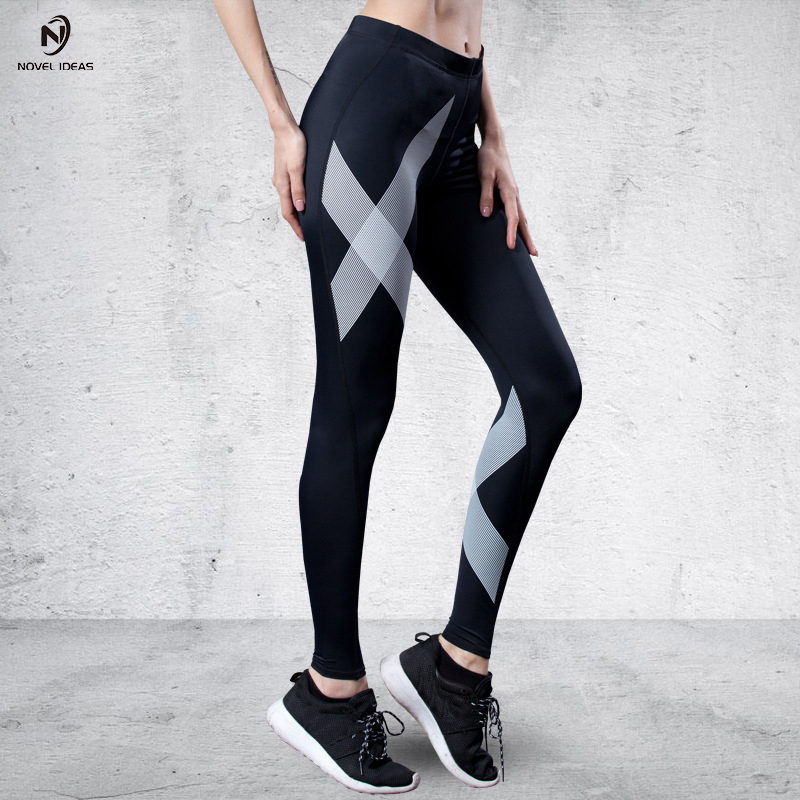 Novel ideas women yoga pants Fitness Sports Leggings Women Workout yoga running Leggings Summer Thin X Lines Compression pants