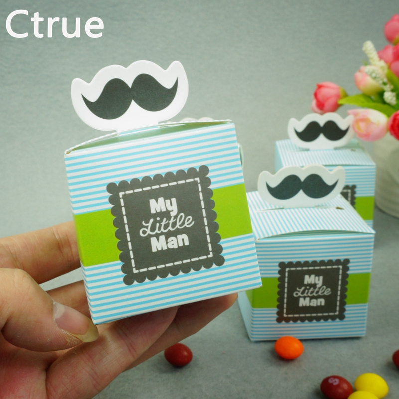 10pcs/Lot My Little Man Cute Mustache Birthday Party Boy Baby Shower Favor  Candy Treat Bag Baby Shower Souvenirs