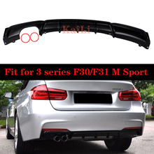 ABS Matte Black Diffuser for BMW 3 Series F30 F31 M Sport Edition 4-door Rear Bumper Lips 318i 320i 328i 2013-2018