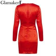 Glamaker Sexy silk wrap bodycon party dress Women winter autumn club dress Female elegant short mini casual slim dress robe 2018
