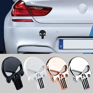 YANF Creative Skull Sticker 3D Metal Car Stickers Body Rear Trunk Badge Sticker For Volkswagen VW Passat B6 B7 Golf 5 6 Tiguan
