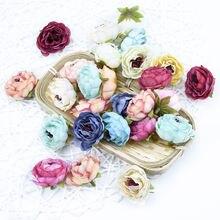 Шелковые пионы искусственные цветы для украшения 4 см