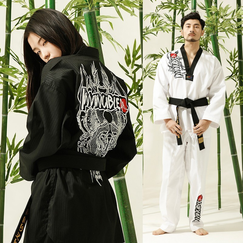 Martial Arts TKD Tae Kwon Do Korea  K Adult & Children Taekwondo Clothes  ,WTF Uniform,160-190cm ,black,white