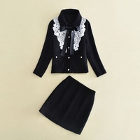 High Quality New Business Women Suits Autumn Winter Office Ladies White Lace Embroidery Black Coat Jacket