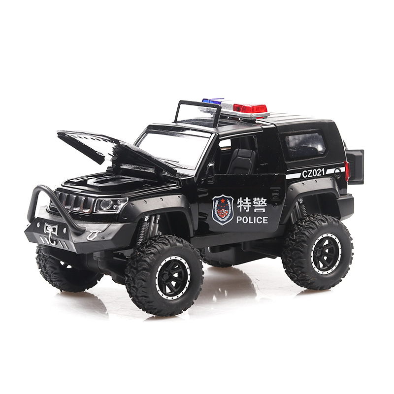 Cool 1:32 Bj40 Off-road Alloy Model,children's Sound And Light Pull Back 5 Open Door Special Police Toy Car Model,free Shipping