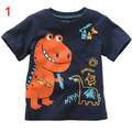 Dinosaurio historieta de los bomberos de cocodrilo tortuga caracol arriba la capa del algodón de rayas T-shirt Camiseta de los niños niño niños paño wear1-6T