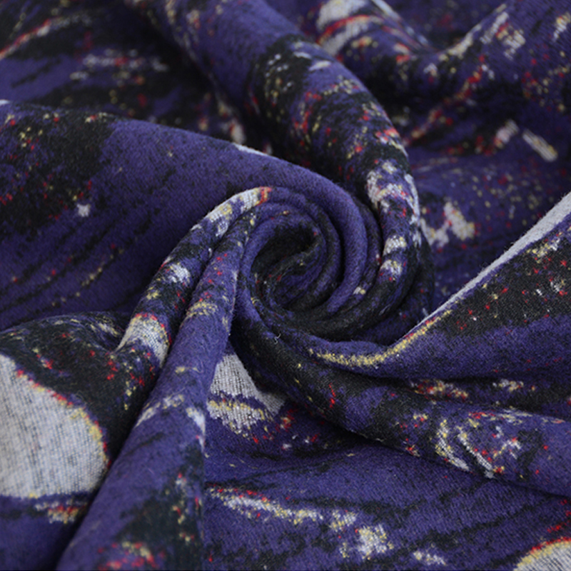 50x150cm/piece Abstract Purple Print High Quality Manual Handmade Woolen Fabric Cloth For Overcoat Dress Suit DIY Sewing