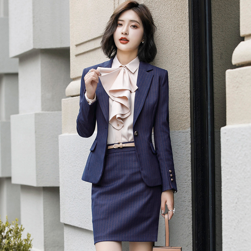 Woman Skirt Suit With Pockets Elegant Stripe Slim Fit Blazer+Skirt 2 Pieces Formal Career Skirt Suits Office Clothes 	XU973