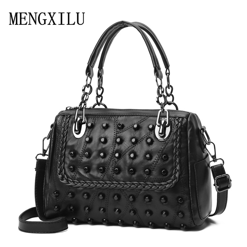 Luxury Rivet Genuine Leather Female Handbag Women Sheepskin Messenger Bags Boston Women Crossbody Bags Ladies Shoulder Bag Sac genuine leather studded satchel bag women s 2016 saffiano cute small metal rivet trapeze shoulder crossbody bag handbag