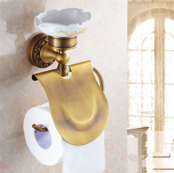Free Shipping Antique Brass Creative Wall Mounted Flower Carved Bathroom Brass Toilet Paper Holder Tissue Roll With Soap Dishes bathroom accessory antique brass wall mounted copper toilet paper roll holder free shipping aba037