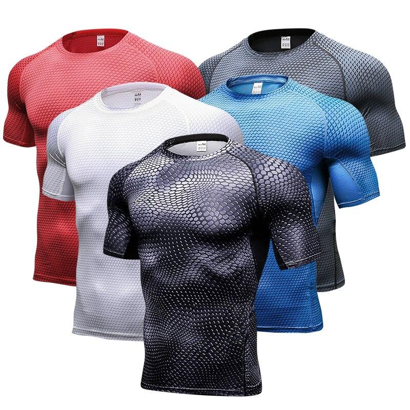 Neue Schnell Trocken Atmungsaktive Gym Shirt Männer Fitness Strumpfhosen Top Fußball Trikots Lauf T Hemd Demix Herren Sportswear Rashgard