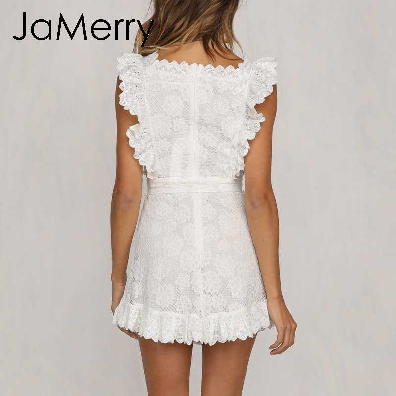 1c687524af51a JaMerry Boho embroidery white lace women mini dress Hollow out sashes  ruffled holiday summer dress Casual sexy beach dress vesti