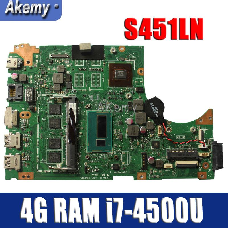 Amazoon S451LN Laptop motherboard 4G RAM i7-4500U for ASUS S451 S451L V451 V451L S451LN S451LB Test mainboard S451LN motherboardAmazoon S451LN Laptop motherboard 4G RAM i7-4500U for ASUS S451 S451L V451 V451L S451LN S451LB Test mainboard S451LN motherboard