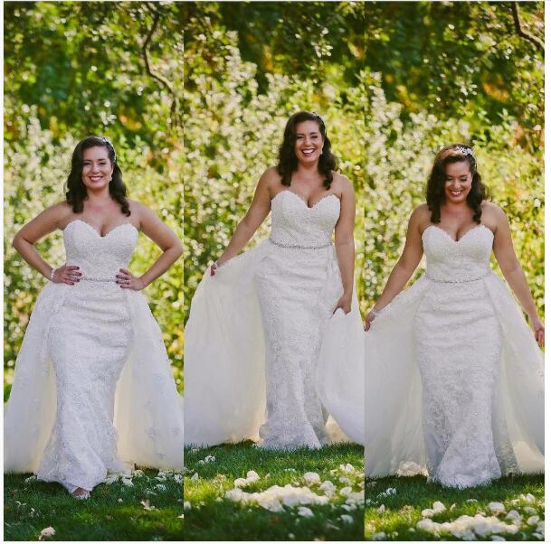 2017 Elegant Plus Size Two Piece Wedding Dresses Long 2 Pieces Dress Bridal