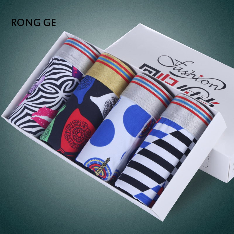 rongge2017 mens underwear boxers male BOXER SHORTS cotton UNDERWEAR printing L XL XXL XXXL no gift boxes free shipping k01-05