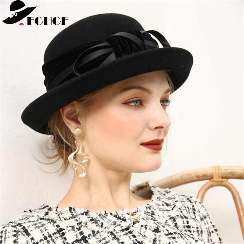 8b3c86fddeeaa8 FGHGF Elegant 1920s Vintage Style Satin Bow knot Wool Cloche Hat Women Wool  Felt Bucket Bowler