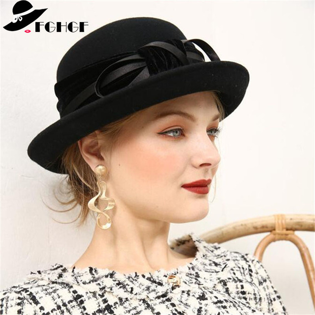 ffb41451ba6675 FGHGF Elegant 1920s Vintage Style Satin Bow knot Wool Cloche Hat Women Wool  Felt Bucket Bowler Hat Winter Crushable Fedoras
