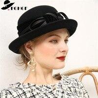 FGHGF Elegant 1920s Vintage Style Satin Bow knot Wool Cloche Hat Women Wool Felt Bucket Bowler Hat Winter Crushable Fedoras