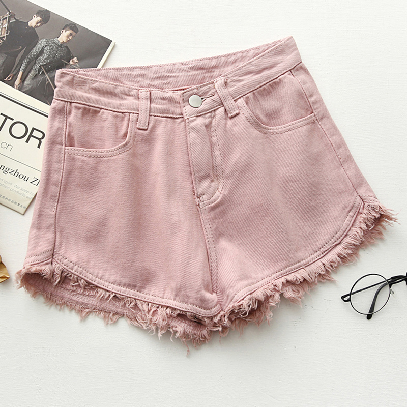 Ripped frayed Edge denim shorts women high waist short jeans feminino pockets black white shorts jeans 2017 summer short femme