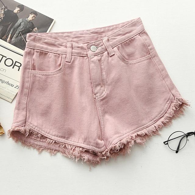 b45c58b73924 Zgrywanie postrzępioną Krawędzi denim szorty damskie wysokiej talii krótkie  jeans feminino kieszenie czarne białe spodenki jeansowe