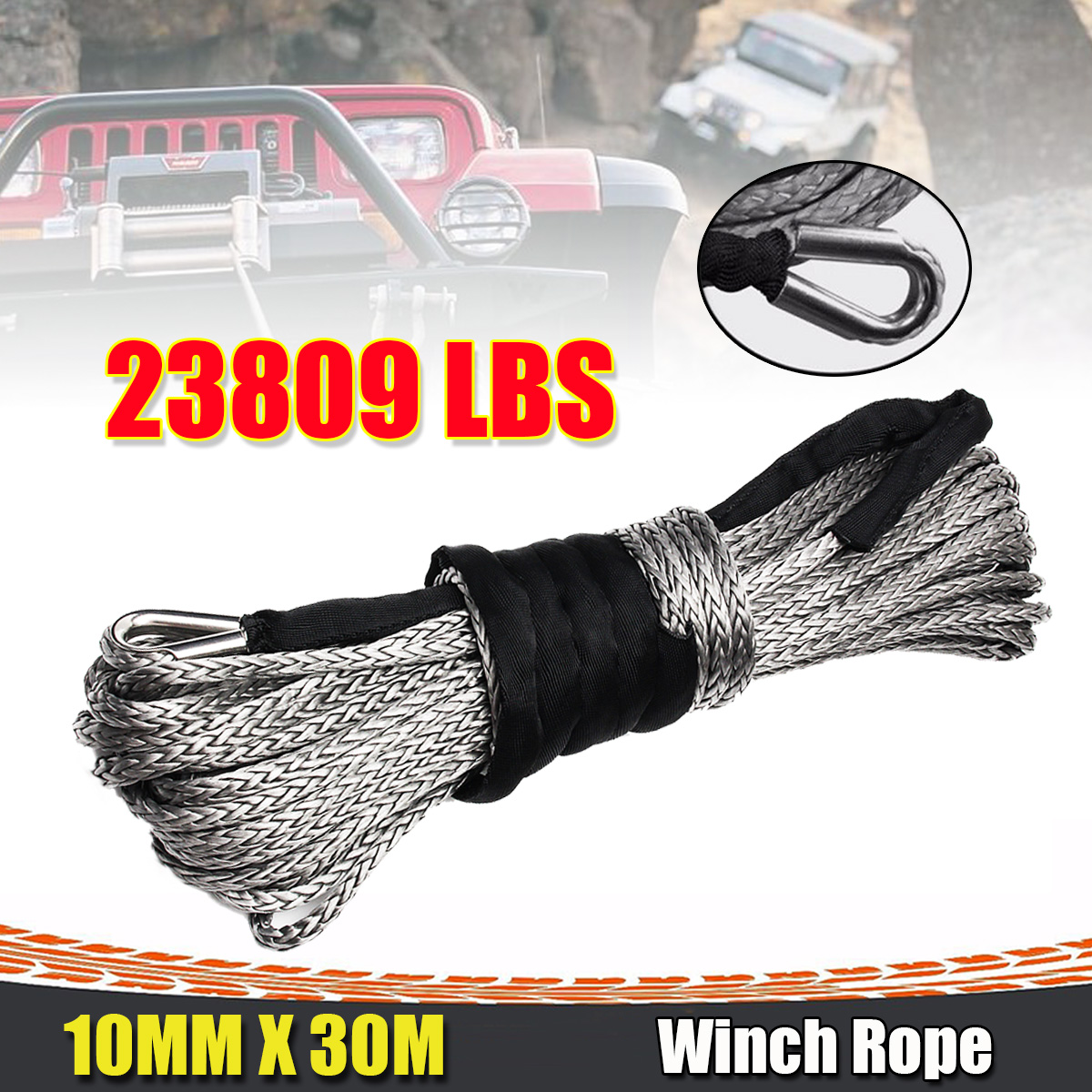10mm x 30m 23000LBS 2/5 x 100ft Synthetic Winch Rope Line Grey Recovery Cable 4WD ATV Heavy Duty atv recovery strap 1 inch x 15 ft single ply