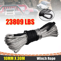 10mm x 30m 23000LBS 2/5 x 100ft Synthetic Winch Rope Line Grey Recovery Cable 4WD ATV Heavy Duty