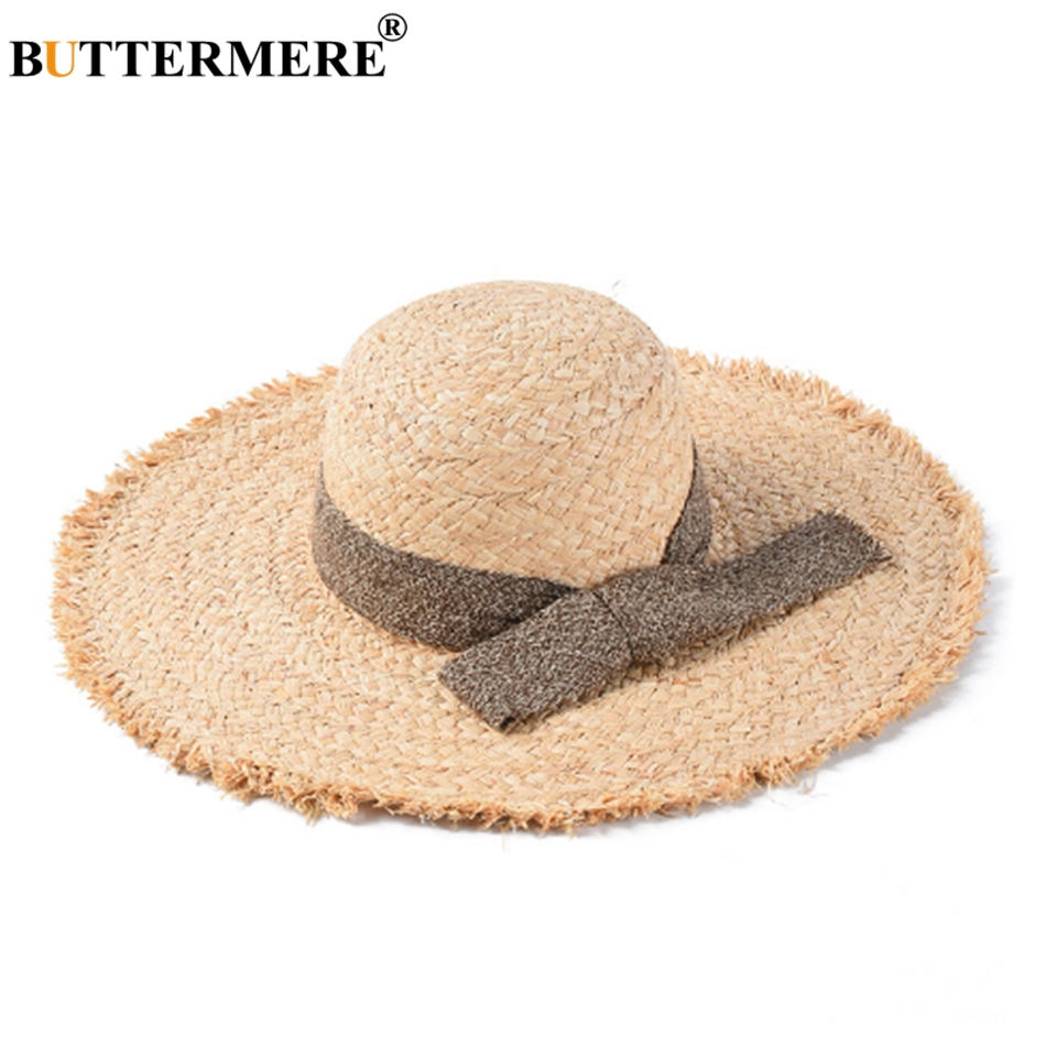 BUTTERMERE Raffia Straw Hats For Women Beige Wide Brim 13cm Sun Hat Ladies Summer Beach Anti uv Caps Female Bow Large Floppy Hat in Women 39 s Sun Hats from Apparel Accessories