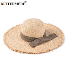 BUTTERMERE Raffia Straw Hats For Women Beige Wide Brim 13cm Sun Hat Ladies Summer Beach Anti-uv Caps Female Bow Large Floppy