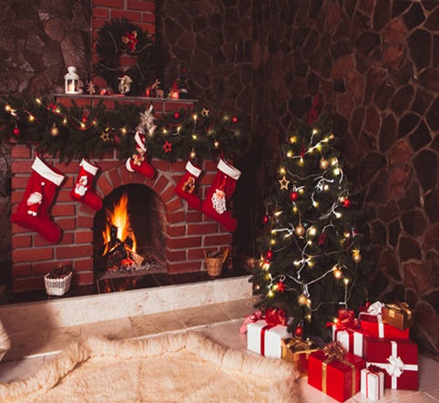 10x10ft Stone Wall Red Boots Fire Brick Fireplace