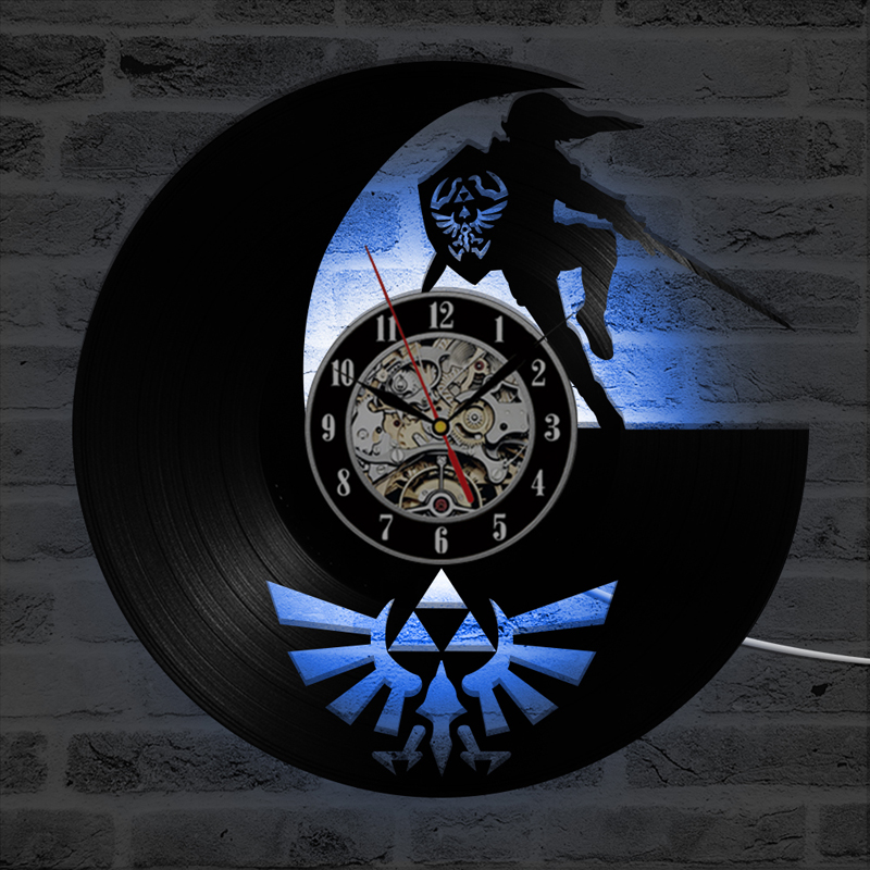 Antique Vinyl Record Wall Clock with 7 LED Color Change The Legend of Zelda Game Theme Classic CD Clocks Wall Watch Home Decor