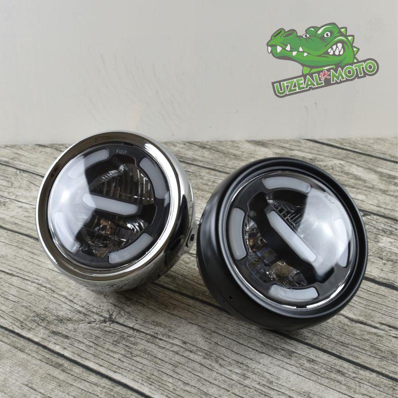 Universal Motorcycle Headlamp Day Time Light LED Distance Light And Lower Beam Refit Vintage Mocycle Front Light E24