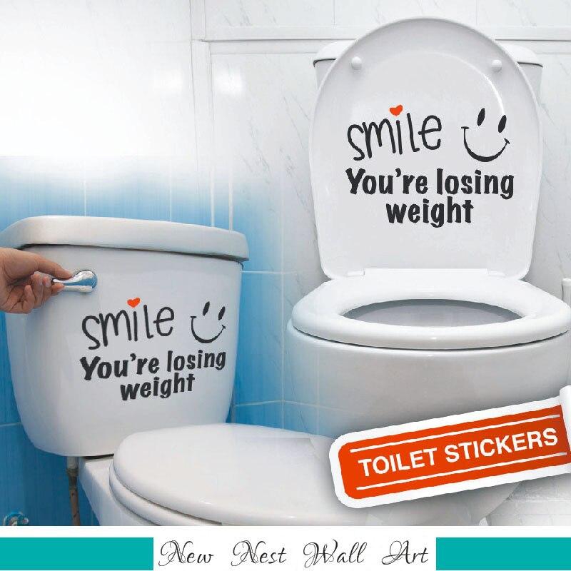 Улыбка вы теряете Вес Туалет Наклейка Винил Наклейки Ванная комната Книги по искусству Декор Забавный Туалет украшения Размеры 26x30 см
