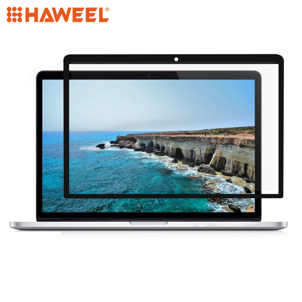 HAWEEL 0.3mm 6H Surface Hardness HD Scratch proof Full Screen PET Film for MacBook Pro Retina 15.4 inch (A1398) (Black) Tablet Screen Protectors     - title=