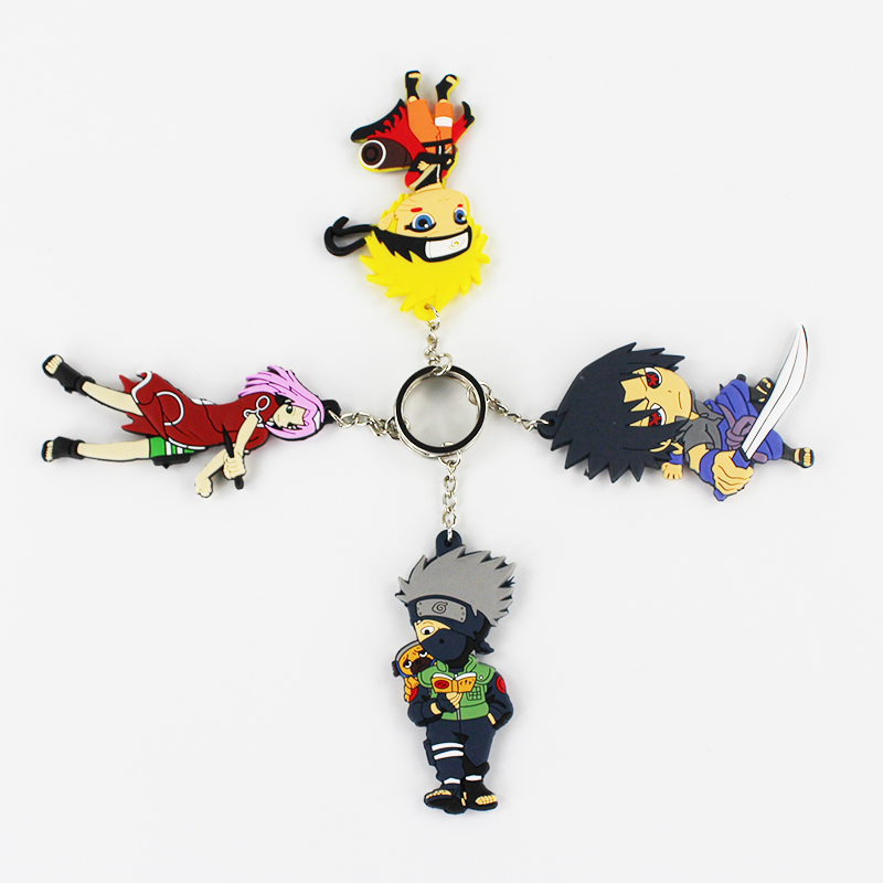 4 Styles Japanese Anime Naruto sasuke uzumaki Key Chans Pendants Figure Toys For Kids Gifts