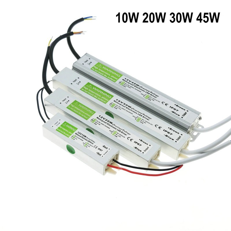 цена на DC 12V LED Power Supply Waterproof IP67 Transformer 10W 20W 30W 45W 50W AC to DC Adapter Driver for Outdoor Garden Strip Lights