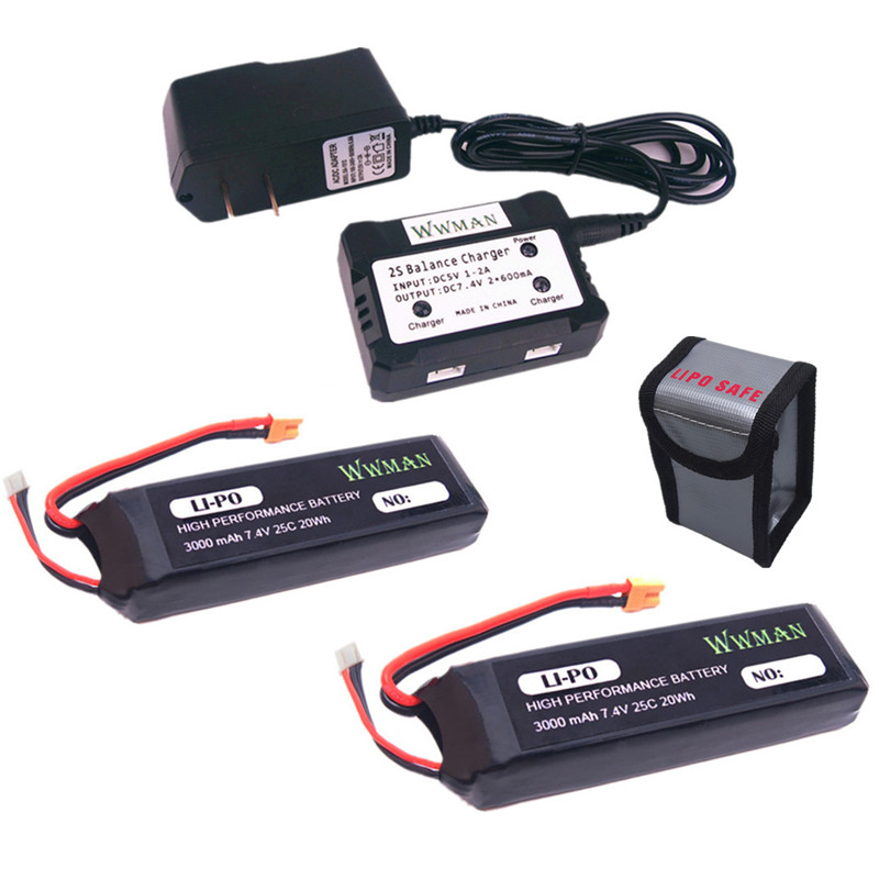 2pcs 7.4V 3000mAh upgrade Battery and 1to2 charger with explosion-proof bags for Bugs 3 mjx B3 Force1 F100 RC quadcopter drone for the mjx b3 helicopter 3pcs 7 4v 1800mah battery and the us regulatory charger with 1 care 3 line aircraft accessories xt30
