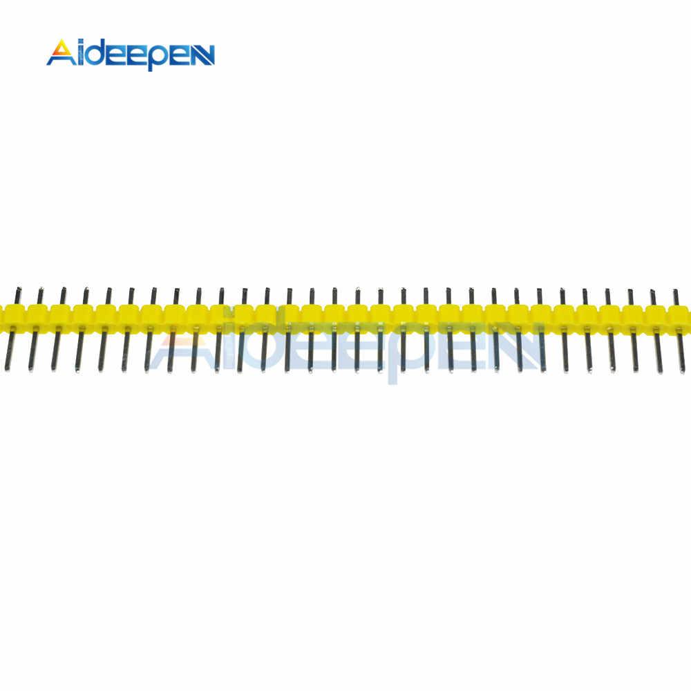 10 Buah Baris Tunggal Pria PIN HEADER 40Pin 2.54 Mm Pin Header Strip Konektor UNTUK PCB Papan DIY Solder las Kuning