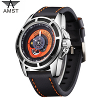 AMST Brand Men Leather Quartz Led Dual Display Watch Waterproof Calendar Rotary Table Wristwatch Relogio Masculino Montre Homme