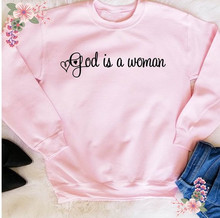 Sugarbaby God is a woman Crew neck Sweatshirt No tears left you cry Ariana Grande inspired song Christmas Gift Pink Jumper printed crew neck christmas blue sweatshirt