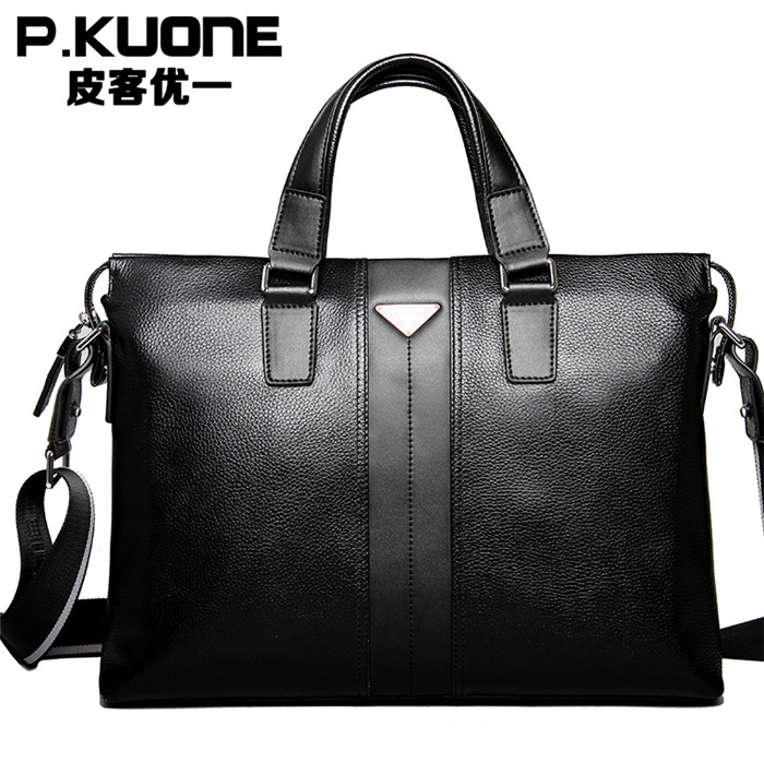 2015 Men Casual Briefcase Business Shoulder Genuine Leather Bag Messenger Bags Computer Laptop Handbag Men's Travel - Small Fish's store