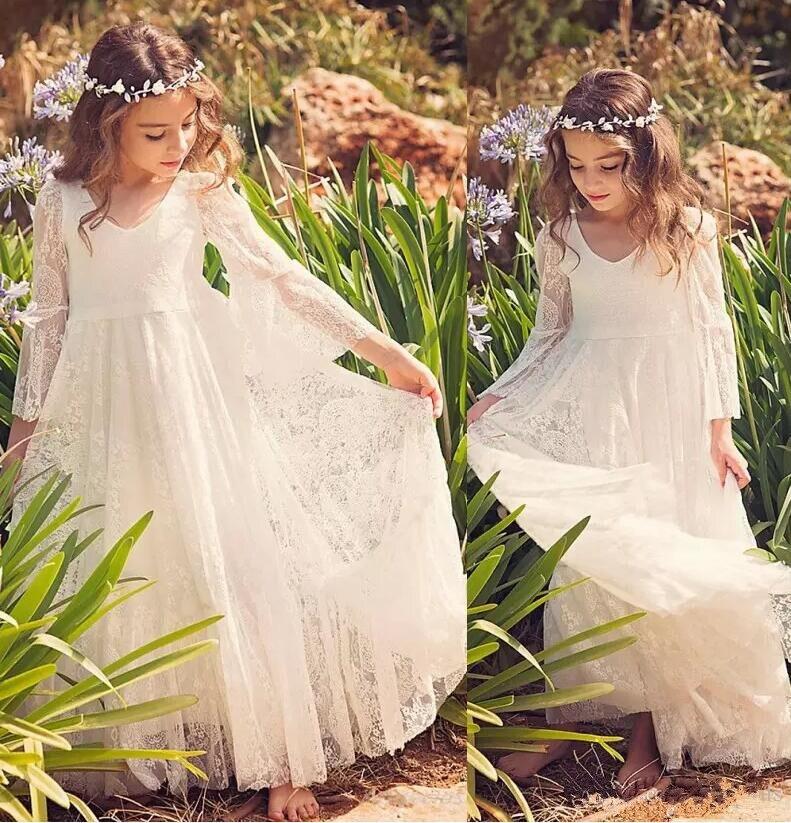 New Beach Flower Girl Dresses White Ivory Boho First Communion Dress For Little Girl V Neck Long Sleeve Kids Dress for Wedding