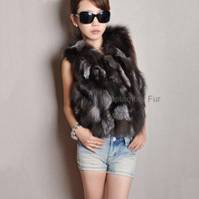 100% GENUINE LADY SILVER FOX FUR VEST WAISTCOAT SHORT Jacket Coat Girl WOMEN Wholesale free drop ship FEMAIL sleeveless gilt