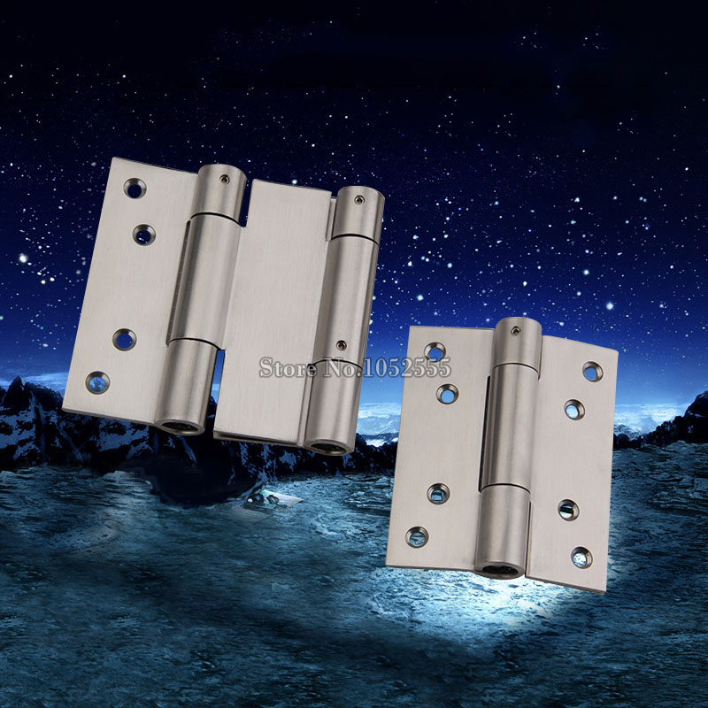 High Quality 2PCS 4Inch Silver Tone Stainless Steel Door Hinges Spring Hydraulic Automatic Close Hinges One-Way / Two Way Hinge цены