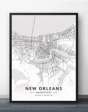 Новый Орлеан ла Луизиана США карта плакат