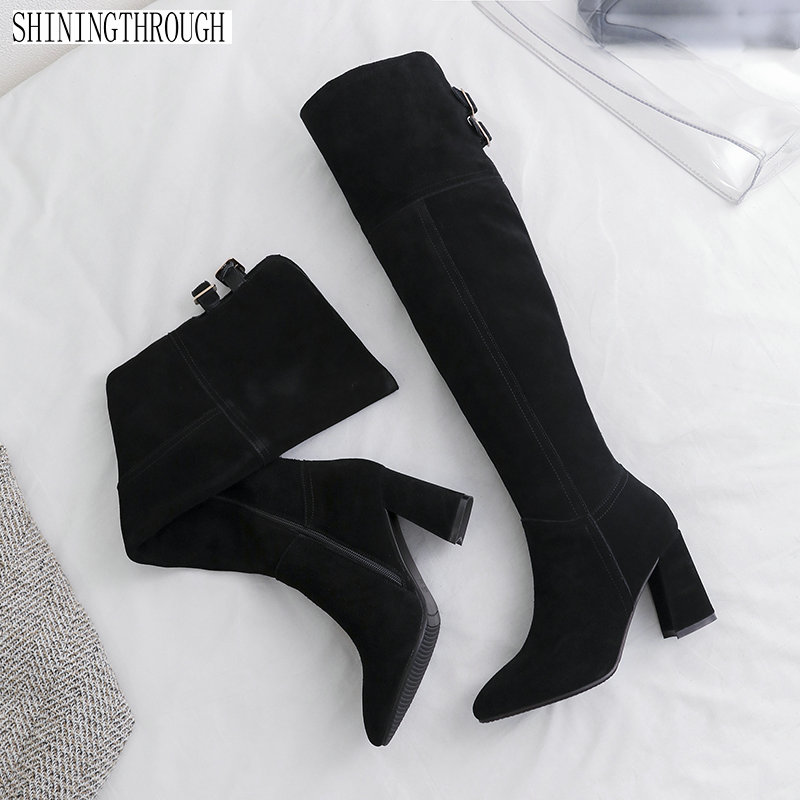 2018 New suede Leather Women Over The Knee Boots Sexy High Heels Women Shoes zipper Winter Boots Warm Size 34-43 new sexy women boots winter over the knee high boots party dress boots woman high heels snow boots women shoes large size 34 43
