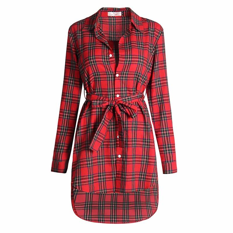 Blaus Wanita Long Sleeve Plaid Shirts Turn Down Shirt Collar Kasual - Pakaian wanita - Foto 5