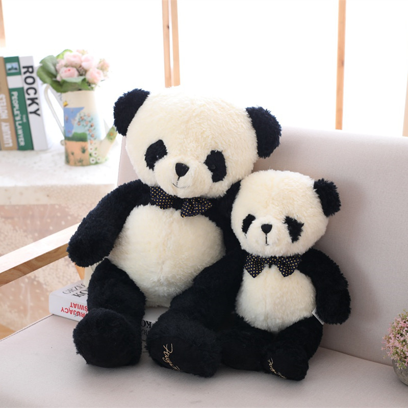 1pc 60/80cm Kawaii Bow Gentleman Large Panda Big Head Doll Plush Toy Soft Animal Stuffed High Quality Cute Gift For Children Kid Superior Performance Dolls & Stuffed Toys Stuffed & Plush Animals