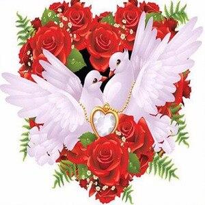 Diamante bordado pombo e rosa vermelha 3d diy pintura diamante ponto cruz dove diamantes mosaico pássaro da paz frisado pintura